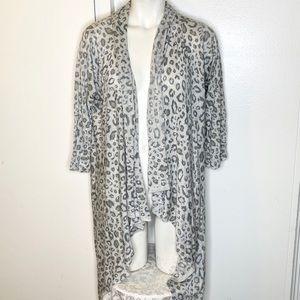 2 Sisters Grey Animal Print Asymmetrical Sweater L